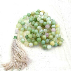 6mm Light Green Striped Agate Knot necklace Chakas Lucky Gemstone Meditation