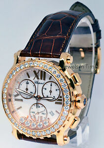Chopard Happy Sport Chronograph 18k Rose Gold & Diamonds BoxPapers 283583-5001