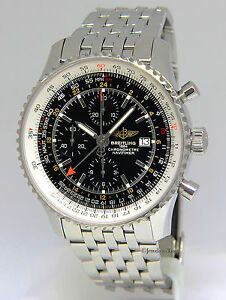 Breitling Navitimer World GMT Chrono Steel Black Dial Watch BoxPapers A24322