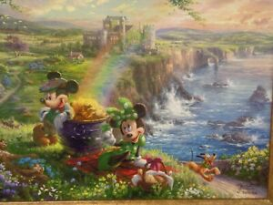 Thomas Kinkade Mickey and Minnie in Irland Framed canvas Disney SN 395