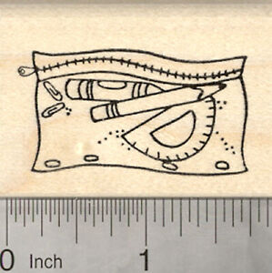 Pencil Pouch Rubber Stamp with Protractor and other School Supplies E25217 WM $12.99