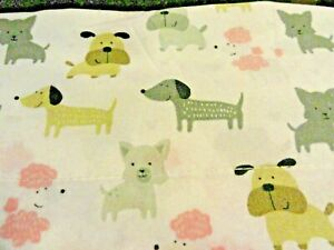 FUN White Gray Pink Tan Whimsical DOGS 3 pc TWIN Microfiber Sheet Dogs Poodle
