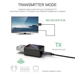 USB Wireless Bluetooth 5.0 Transmitter Receiver AUX Audio Adapter for TVPCCar