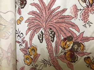 Silk hand blocked Chinoiserie with rose maroon and green colors. 5.5 yards
