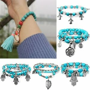 Fashion Women Multilayer Shell Turquoise Bangle Beaded Tassel Bracelet Jewelry
