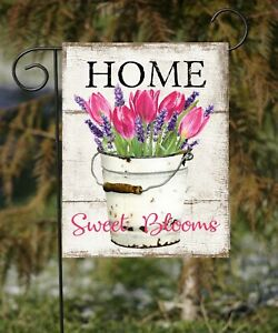 Home Sweet Blooms  Double Sided Soft Flag   **GARDEN SIZE** FG1321