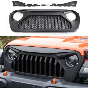 Front Matte Black Vader Grill Angry Bird Grille for 2018-2019 Jeep Wrangler JL