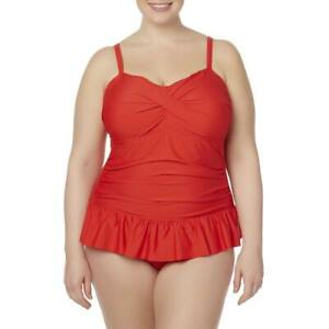 Women's Tropical Escape Rouched Swim Dress Red Size 20 W