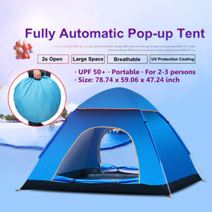 2-3 Person Waterproof Camping Tent Automatic Quick Shelter Hiking Outdoor US
