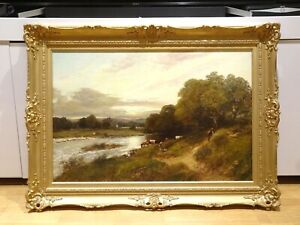 Huge 19th Century River Wharfe Yorkshire Landscape Cattle Sunset William Manners