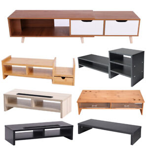TV Cabinet Stand Entertainment Unite High Light Wood With 2 Drawers Retractable