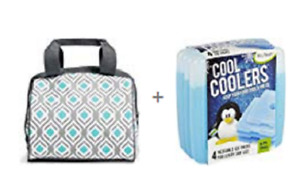 Fit & Fresh Charlotte Insulated Lunch Cooler Bag + 5 ICE PACKS Thermal Tote NEW