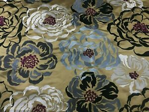 Floral Embroidered Fabric Gold Black White Upholstery Drapery BTY