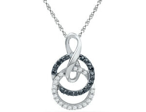 1 5 Carat Black Diamond Pendant Necklace in 10K White Gold