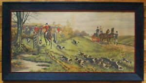 LARGE ANTIQUE F CECIL BOULT FOX HUNT SCENE ENGRAVING HAND COLORED 1880'S ENGLISH