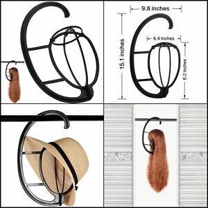 2PC Black Durable Wig Hanger Portable Hanging Wig Stand for All Wigs and Hats U