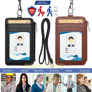 ID Badge Holder Lanyard RFID Credit Card Case Zipper Vertical Hang Neck MenWomen
