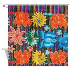 CafePress Mexican Flower Embroidery Shower Curtain (1659647893)