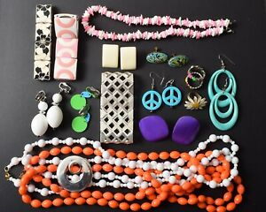 Colorful Jewelry Lot, Fun Collection of Mod 60s Style Pop Art Jewelry