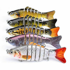 5XMinnow Crank Baits Bass Segment Multi Jointed Fishing Lure Crankbaits Swimbait