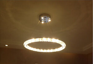 Modern LED Round 3 sides Crystal Pendant Lamp Ring Ceiling Light Lighting $203.15