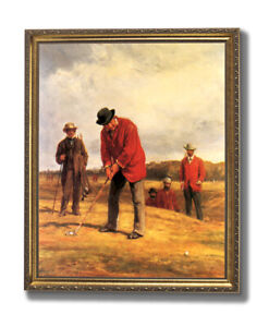 Putting At Blackheath Old Golf Wall Picture Gold Framed Art Print $64.97