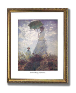Madame Monet And Son Flowers Landscape Wall Picture Gold Framed Art Print $64.97