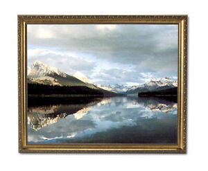 Lake Trees Snow Mountain Landscape Wall Picture Gold Framed Art Print $64.97