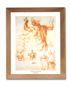 Michelangelo The Human Body Wall Picture Honey Framed Art Print