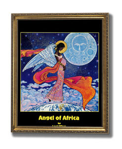 African American Black Angel Wall Picture Gold Framed Art Print