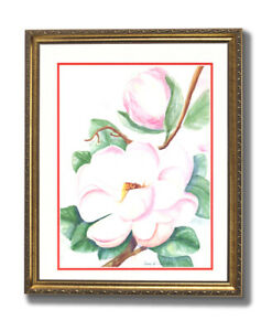 Magnolia Flowers Watercolor Wall Picture Gold Framed Art Print $64.97