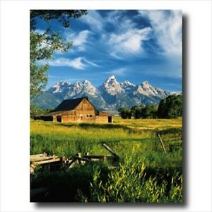 Country Barn Grand Teton Snow Wall Picture Art Print