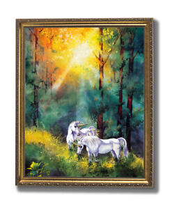 Changing Light Unicorn Wall Picture Gold Framed Art Print