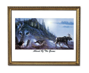 Wolves Chasing Moose Down Mountain Wolf Wall Picture Gold Framed Art Print