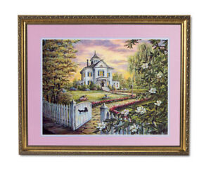Country House Cottage Flowers Landscape Wall Picture Gold Framed Art Print