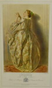 ANTIQUE FRENCH LITHOGRAPH FROM LES FILLES D#x27;EVEL SERIES ENTITLED L#x27; ECOUTEUSE $72.00