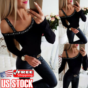 Women's Sexy Strap Cold Shoulder Slim Fit Long Sleeve Tee Tops Blouse T Shirt US