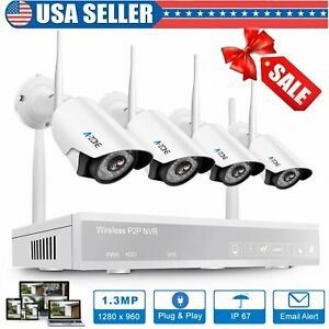 A-ZONE Wireless 4CH 1080P NVR Outdoor Security IP Camera System IR Night Vision