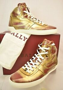 NIB BALLY EROY GOLD RED BRUSHED LEATHER LOGO HI TOP LACE UP SNEAKERS US 11