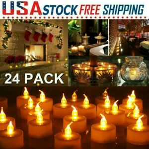 24 PCS Flameless Votive Candles Battery Operated Flickering LED Tea Lights Decor