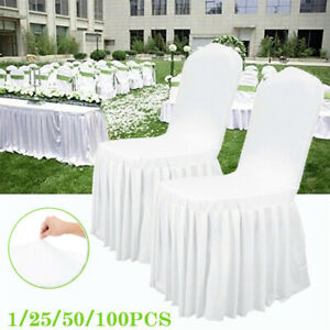 White Spandex Chair Cover Ruffled Pleated Skirt Slipcover Hotel Ceremony Wedding