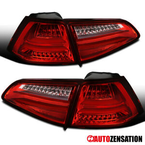 For 15-17 VW Golf MK7 Replacement RedClear Full LED Tail Lights Brake Lamp Pair
