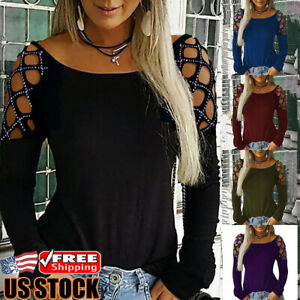 Womens Hollow Long Sleeve Loose T-Shirt Ladies Summer Casual Blouse Tops Tee