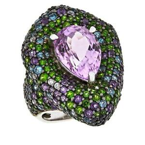 RARITIES STERLING KUNZITE & MULTI-GEMSTONE PEAR-SHAPED RING SIZE 6 HSN $899