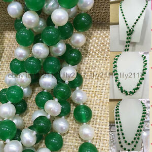 36#x27;#x27; Charming Natural 7 8MM White Cultivation Pearl Green Jade Gems Necklace