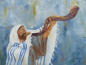 JEWISH ART PAINTING RABBI BLOWING SHOFAR BEAUTIFUL BLUE W/ GOLD FRAME GREAT GIFT