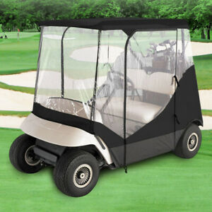 GOLF CLUB CART COVER ENCLOSURE WITH CLEAR WINDOW  DOORS 2 SEATER ZIPPERED DOORS