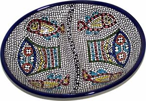 Double Dish Tabgha Ceramic Serving Snack Dish 7.5 Inches Asfour Outlet $26.93