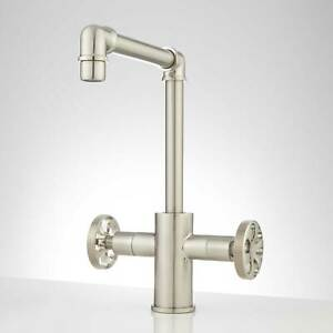 Edison Dual Handle Bathroom Faucet with Pop Up Drain No Overflow Brushed Nickel
