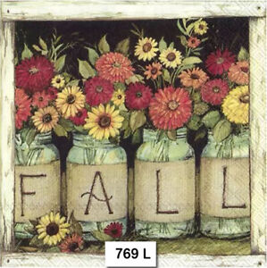 769 TWO Individual Paper Luncheon Decoupage Napkins FALL AUTUMN FLOWERS JARS